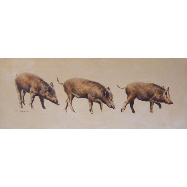 3 Little Pigs - Original Oil on Board