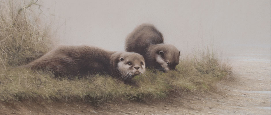 Otters - Original Pastel